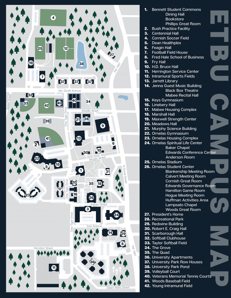 Campus Map | East Texas Baptist University on boston college campus map, michigan state campus map, auburn campus map, ohio state campus map, us naval academy campus map, nyu campus map, stanford campus map, oklahoma state campus map, florida state campus map, georgia tech campus map, clemson campus map, cal state fullerton campus map, pennsylvania state campus map, georgetown campus map, oregon state campus map, duke campus map, harvard campus map, cornell campus map, fordham campus map, virginia tech campus map,