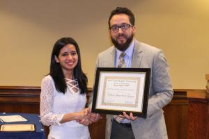 Diana Jasso de la Garza is awarded the Thomas & Mary Cook Endowed Scholarship.