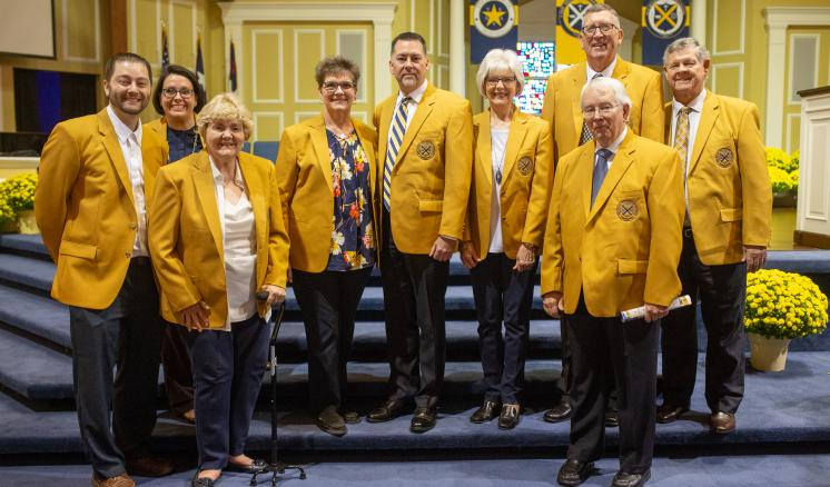 "2018 Golden Blazers: Hollie Atkinson ('59), Vince and Susan (Brooks) Blankenship ('85, '85), Brian and Paula (Matkin) Nichols ('73, '72), Martha ""Marty"" (Hedgecock) Rich ('63), Will and Ruthie (Meeks) Walker ('03, '02), and Don Anthis ('67). These alumni have provided $10,000 of financial support to the University and countless volunteer hours."