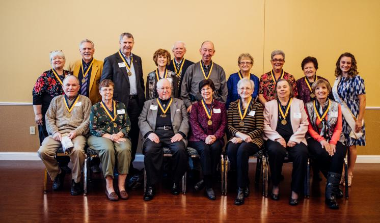 Following the luncheon held in their honor, nineteen members of the Class of 1968 are recognized. Each year, alumni, who have graduated 50 years ago are presented with a golden medallion.