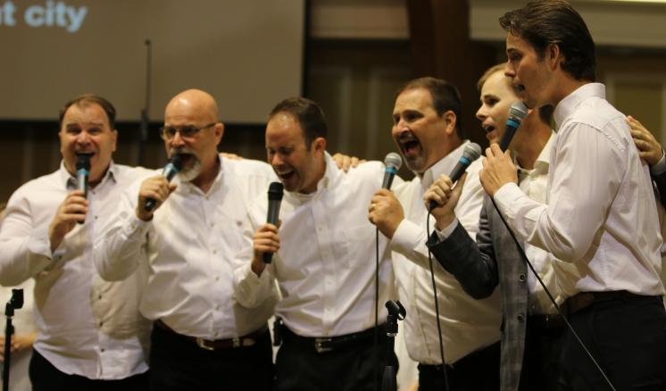 The Perkins brothers perform Light of That City at the Perkins Family and Friends Reunion Concert on October 26. More than 10 members of the Perkins Family are graduates or current students of ETBU.