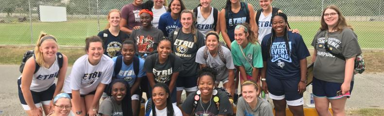 The ETBU Women's Basketball team serves in Jamaica