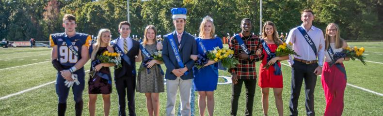 ETBU 2018 Homecoming Court: The court included Freshman Duke and Duchess, Josh Reed and Abigail Bath; Sophomore Duke and Duchess, Dave Hendrix and Emily Jones; Junior Duke and Duchess, Landin Brown and Morgan Arst; Senior Duke and Duchess, Zach Pollard and Gloria Ambrose; and King and Queen, seniors Collin Perkins and Caroline Lowe.