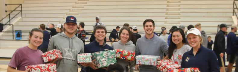 ETBU Athletics share joy and blessings through Operation Christmas Child